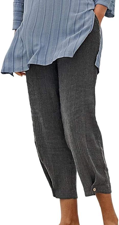 Pantalones de lino y algodón para mujer, ajuste holgado, cintura elástica, pierna ancha, puños con botones, livianos, cómodos, informales, largos, con bolsillos: Amazon.es: Juguetes y juegos