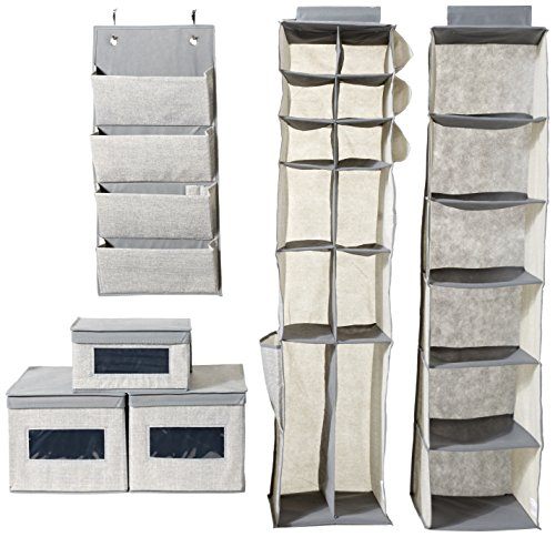 InterDesign Aldo Fabric Closet Storage Organization Starter Set for Bedroom, Laundry Room, Hallway – 6 Pieces, Gray.