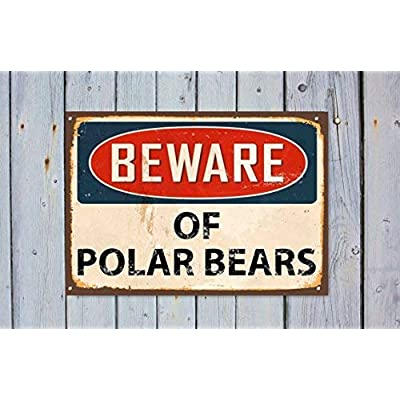 "Lilyanaen New Metal Sign Aluminum Sign Beware Polar Bears Beware Warning Wall Sign for Outdoor & Indoor 12"" x 8"": Home & Kitchen"