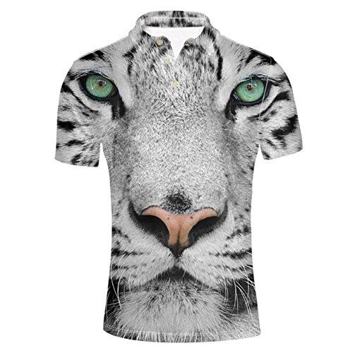 (HUGS IDEA 3D Animal Printed Modern Men's Jersey Polo Shirt Summer Fashion Tiger Face Short Sleeve T-Shirts Tee)