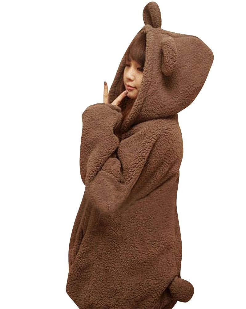 Damen Mantel Bär Hooded Rabbit Plüsch Jacke Pullover Loose Snapper Hoodie Rugged Jacket Cute Winter Hoodie Sweater