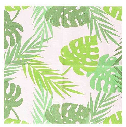 Cocktail Napkins - 150-Pack Luncheon Napkins, Disposable Paper Napkins Tropical Party Supplies for Birthdays, 2-Ply, Palm Leaves Design, Unfolded 13 x 13 Inches, Folded 6.5 x 6.5 Inches