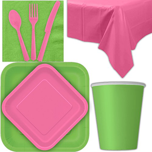 (Disposable Party Supplies for 28 Guests - Lime Green and Hot Pink - Square Dinner Plates, Square Dessert Plates, Cups, Lunch Napkins, Cutlery, and Tablecloths: Premium Quality Tableware Set)