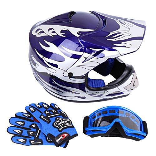 Sange DOT Youth Kids Offroad Helmet Motocross Helmet Dirt Bike ATV Motorcycle Helmet Gloves Goggles (Blue, Medium) (Kid Motocross Helmet)