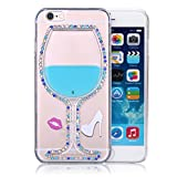 Infinite U Jewellery Bling Rhinestone Blue Flowing Liquid Red Lips High-heeled Shoes Plastics Cell Phone Case/Cover for iPhone 6/6s 4.7