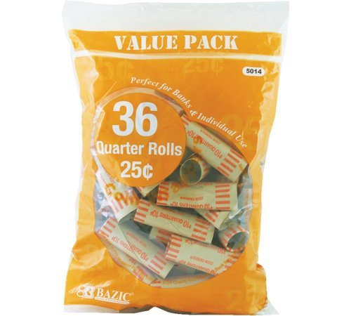 Bazic Quarter Coin Wrappers, 36 Per Pack – 3 Packs (Total 108) PackageQuantity: 3 Style: Yellow, Model:, Office Accessories & Supply Shop
