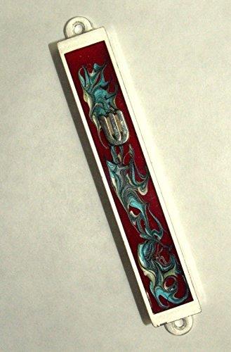 Judaica Mezuzah Case Burgundy Aqua Decorative Retro Stripe Silver SHIN 7 cm by Collecting Trends