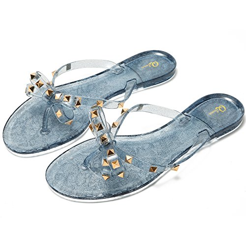 Qilunn Womens Bow Flip Flop Sandals,Jelly Thong Flat Sandals Summer Beach Shoes with Rubber Rivets Bowtie Flip Flops,9 B(M) US/41m EU/25.5cm Glitter Gray