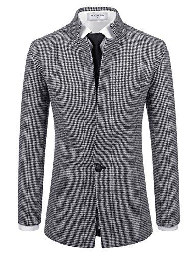 Blend Ivory Jacket Wool (NEARKIN (NKNKSC7011) Mens Upturned Collar 1 Button Wool Blend Checker Jacket Blazer WHITEBLACK US L(Tag size L))