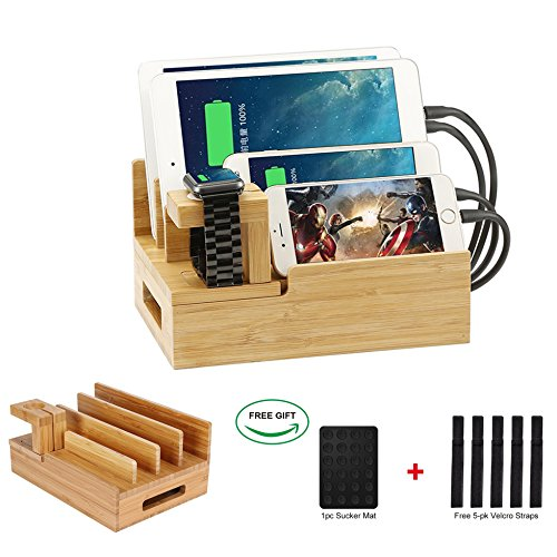 Price comparison product image Bamboo Desktop Charger Station ,Coeuspow Wood Multi-device Charger Organizer Station Dock for iPhone ,iPad,Smartphone,Tablets and Apple Watch ,Handmade & Eco-Friendly