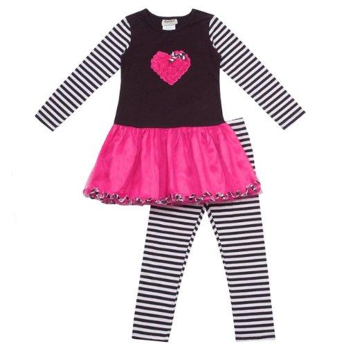 Rare Editions Girls Heart Tutu Dress and Leggings