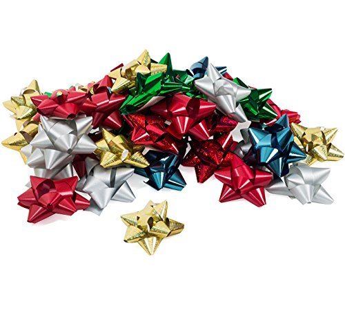 Bows for Gifts - Christmas Bows for Presents - 36 Peel and Stick, Self Adhesive, Assorted Colors