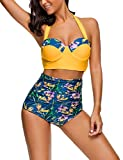 HiMiss Women Retro Swimsuits Bikinis Bathing Suits Strap Underwired Top Yollow S
