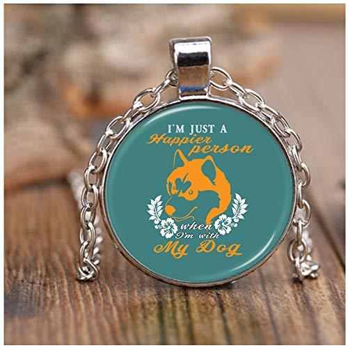 OMANECK I Love My Dogs Necklace Nickel, I Am A Dog Lover Necklaces (Necklace - Nickel - Green Pistachio) ()
