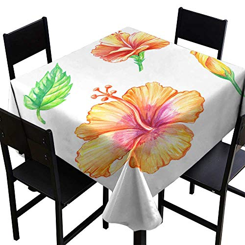 Wrinkle Free Watercolor Illustration Yellow Hibiscus Botanical Clip Art Tropical Flowers Collection Green Leaf Design Elements Set Isolated on White Background,W60 x L60 for Accent Table