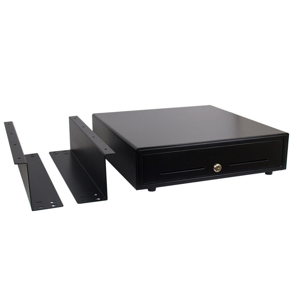 Angel POS Heavy Duty 16'' Point of Sale Cash Drawer Register with Under Counter Mounting Metal Bracket 24V RJ11/12 Compatible with EPSON STAR CITIZEN