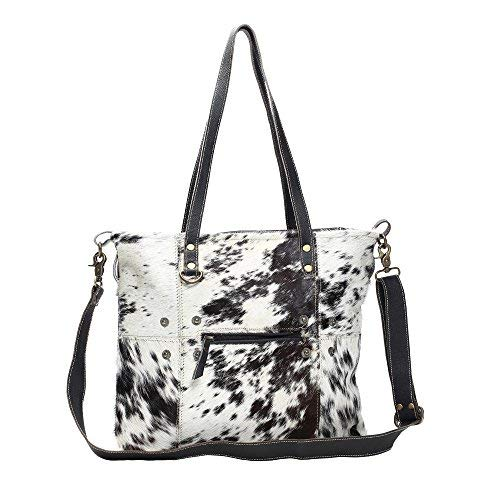 Myra Bag Black & White Shade Cowhide & Leather Tote Bag S-1167, Brown, One - Bags Leather Canada