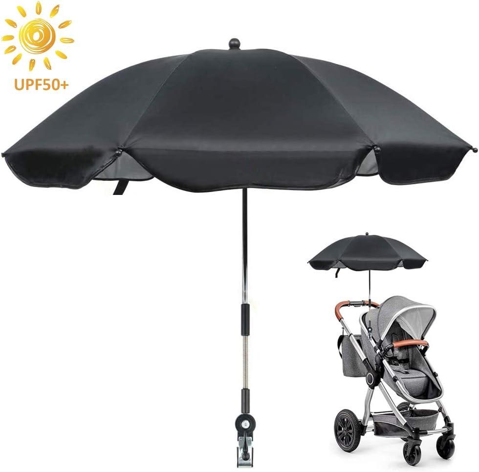 Sombrilla Paraguas para Cochecito Ajustable Soporte para Sombrilla Carrito de Ni/ño Cochecito Rayos UV Paraguas de Lluvia Solar Clip