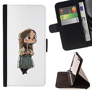 Momo Phone Case / Flip Funda de Cuero Case Cover - Chica Anime japonés triste Niño Big Eyes - Samsung Galaxy J3 GSM-J300
