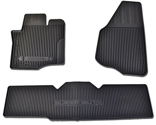 Oem Factory Stock Genuine 2013 2014 2015 Ford Super Duty F-250 F-350 F-450 F-550 Supercab Extended Cab Black Ebony Rubber All Weather Floor Mats Set 3-pc Front & Rear by Ford (Image #3)