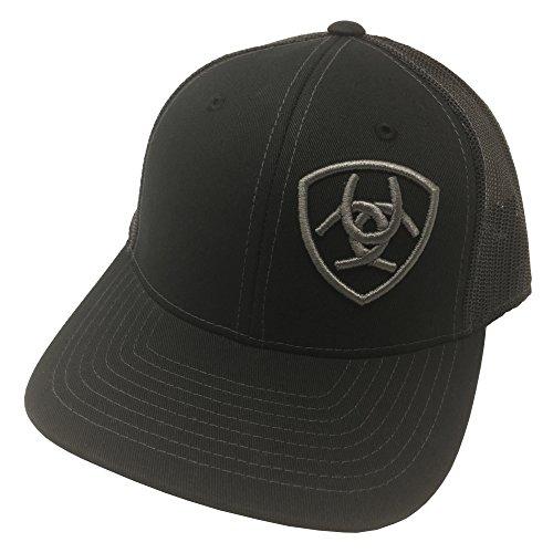 ARIAT Kid's Youth Offset Grey Signature Logo Cap, Black, OS (Cap Signature Logo)
