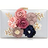 Milisente Women Flower Clutches Evening Bags Handbags Wedding Clutch Purse (Silver)