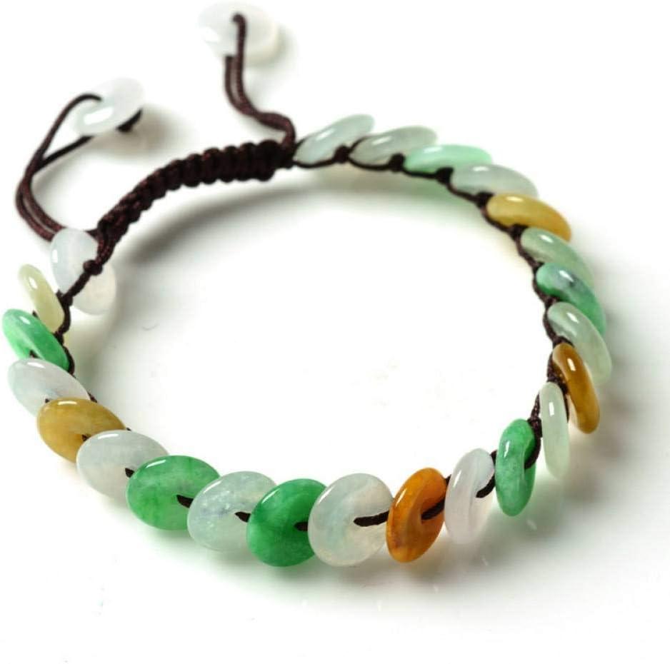 HMKLN Myanmar Natural Esmeralda Pulseras Suerte Amuleto Tricolor Jade Bracelet & Bangles para Mujeres Regalo