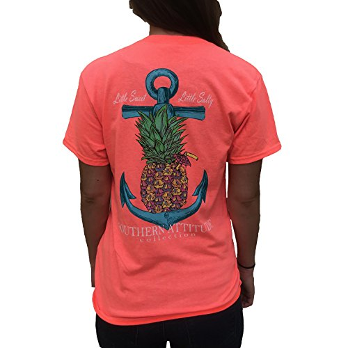- Southern Attitude Pineapple Anchor Heather Coral Women's Short Sleeve T-Shirt (Medium)
