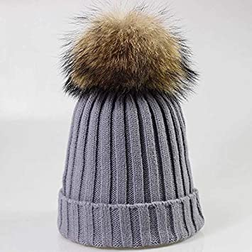 cbad0038387 HOKUGA  Wholesale Real Mink Fur Pom Poms Knitted Hat Ball Beanies Winter Hat  For Women