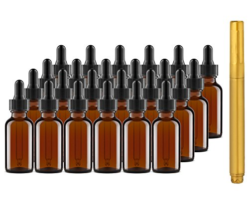Culinaire 24 Pack Of 1 oz Amber Glass Bottles with Dropper Tops and Gold Glass Pen ()