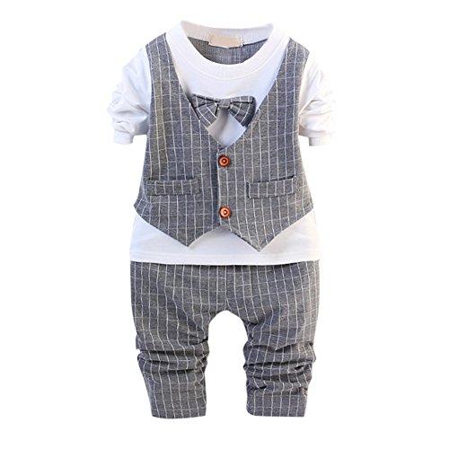 Baby Boys Gentlemen Bowknot Rompers Long Sleeve Bodysuit - 4