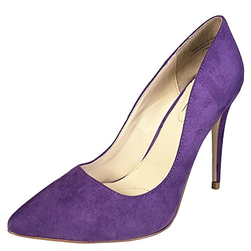 Anne Michelle Women's Plain Pointy-Toe Dress Heel Pump, Purple Faux Suede, 7.5 B (M) (Plain Womens Pumps)