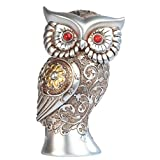 7 Inch 7 Inch Silver and Bronze Owl with Red Gems Statue