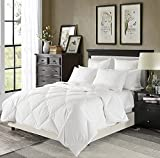 100 down duvet insert - Luxury Lightweight Down Comforter Solid White - Corner Duvet Tabs - Hypoallergenic Duvet Insert- 230 Thread Count 600FP 100% Cotton Shell Down Proof-Box Stiched(Full/Queen)-by Downluxe