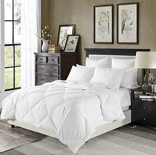 downluxe Lightweight Down Comforter(Queen,White)-Summer Weight Down Duvet Inserts,230 Thread Count 550+ Fill Power,100% Cotton Shell Down Proof With - Lightweight Comforter Summer
