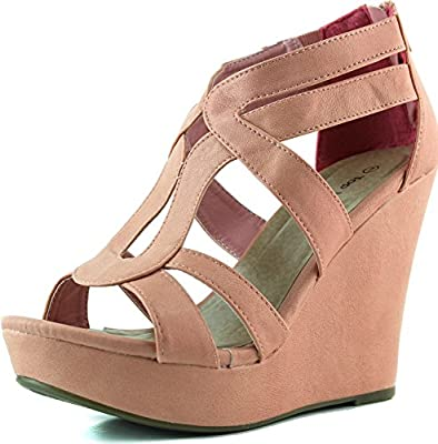 Women's Strappy Open Toe Platform Wedge COR1 8.5