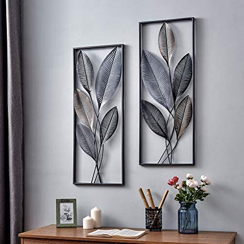 FirsTime Co. Metallic Leaves Decor Wall Plaque Set, 35.5 H x 14 W, Gold, Antique Silver, Black