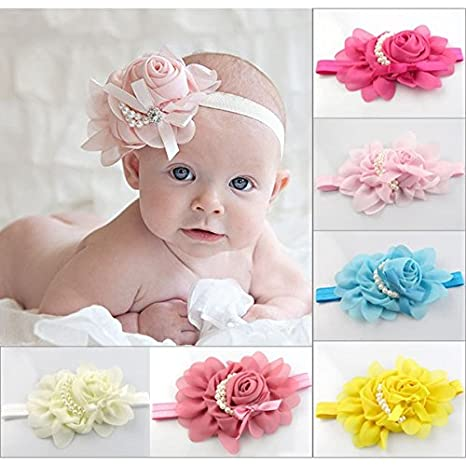 5PCS New Fashion Pearl Rose Flower Baby Girls Hair Band Headband Infant Hair Accessories-Color Beige