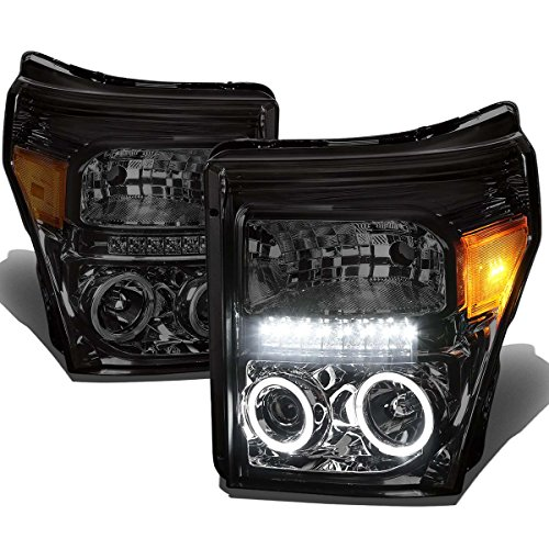 (For 11-15 Ford Super Duty Pair Smoked Lens Amber Corner Dual Halo Projector LED Headlight Lamp )