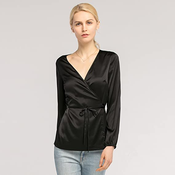 da9d2c599c90fd LilySilk Silk Wrap Blouse for Women and Ladies Sexy V Neck 19MM with Tie  Elastic Cuffs Long Sleeve at Amazon Women s Clothing store