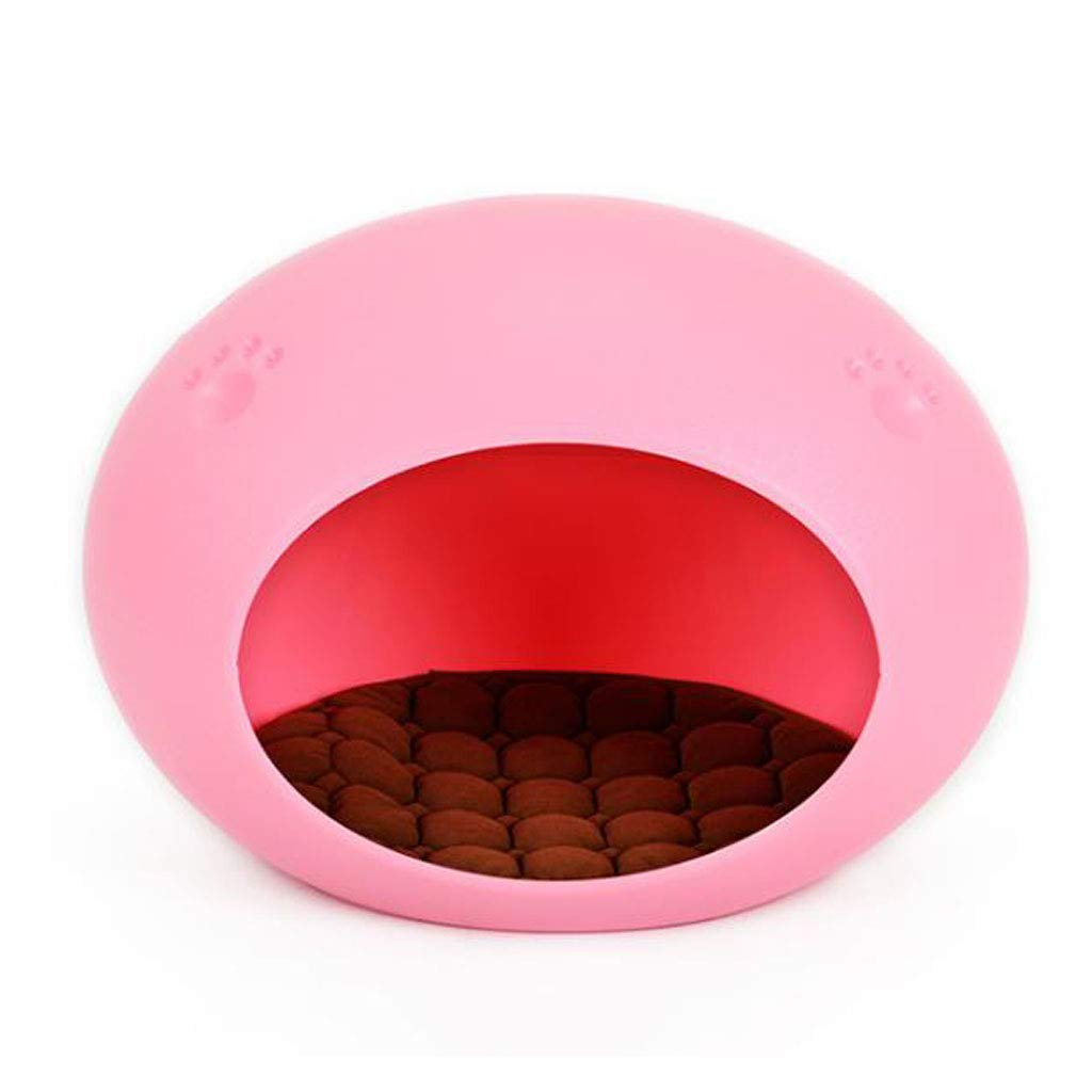 PINK LYX1,Pet Bed Easy To Clean Four Seasons Available Environmentally Friendly PE Material Oval Nest (color   PINK)
