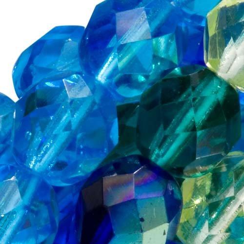 - Czech Fire Polish Glass Beads 8mm Round Lagoon Mix Blue Green (50)