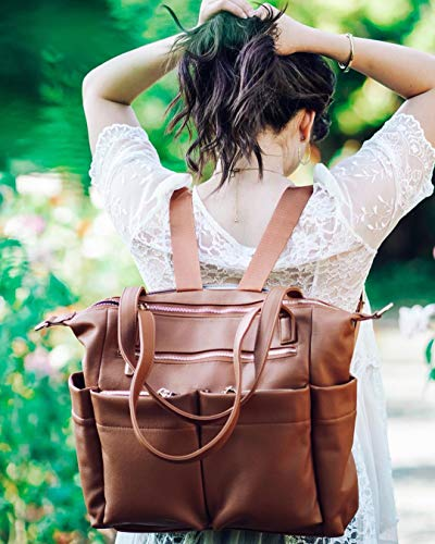 Leather Diaper Bag Backpack By Miss Fong, Baby Bag, Diaper Bag Tote With Changing Pad, In Bag Organizer, Stroller Straps, Insulated Pockets and Shoulder Strap(Brown)