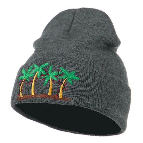 e4Hats.com Palm Trees Christmas Lights Embroidered Beanie - Grey OSFM (Embroidered Christmas Tree)