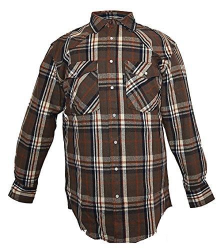 Five Brother Men's Heavyweight Regular Fit Western Flannel Shirt, XL Brown, 5201R PL-5A - Heavyweight Flannel
