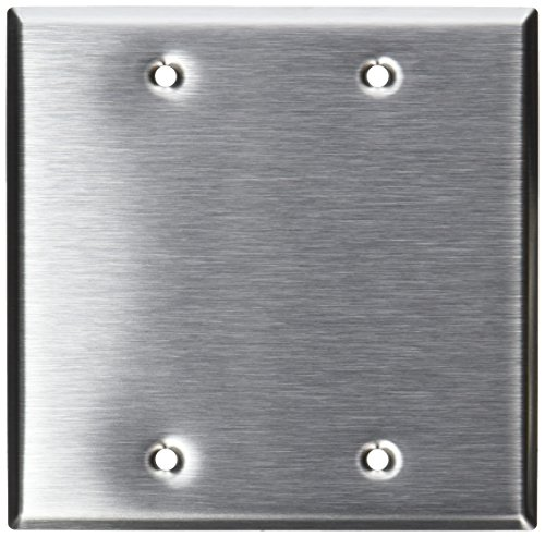 Leviton 84025 2-Gang No Device Blank Wallplate, Standard Size, Box Mount, Stainless (Mount 2 Gang Stainless Steel)
