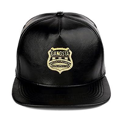 MCSAYS Belt Buckle Glossy Snapback Hat Flat Brim Studded Gangsta Baseball Cap from MCSAYS