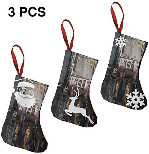 クリスマスの日の靴下 (ソックス3個)クリスマスデコレーションソックス アニメの姉妹と姉妹 クリスマス、ハロウィン 家庭用、ショッピングモール用、お祝いの雰囲気を加える 人気を高める、販売、プロモーション、年次式