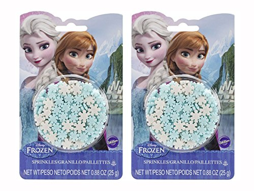 (Wilton - Disney's Frozen Collection, Set of Two 25g Snowflake Sprinkle Containers, Great for Cupcakes, Ice Cream and)