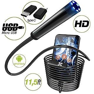 Endoscope - Borescope - Endoscope Android- USB Endoscope Borescope - micro USB - USB C Inspection Camera - Waterproof LED Automotive Vehicle Bore Drain Digital HD Semi-rigid OTG Android with Case